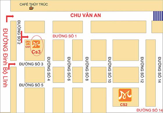 Cơ sở 3: 18-20 Khu Biệt thự Chu Văn An, Đường số 1, Phường 26, Q.Bình Thạnh, TPHCM