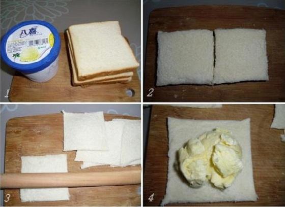 múc kem đặt lên bánh mì