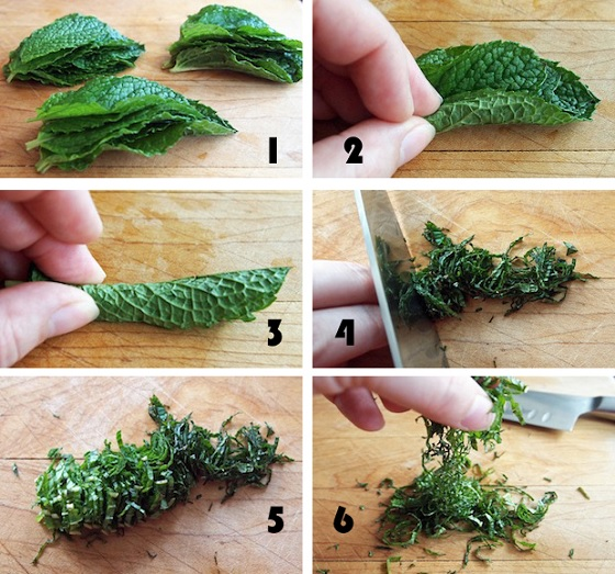 Chiffonad – thái sợi các loại thảo mộc, lá rau