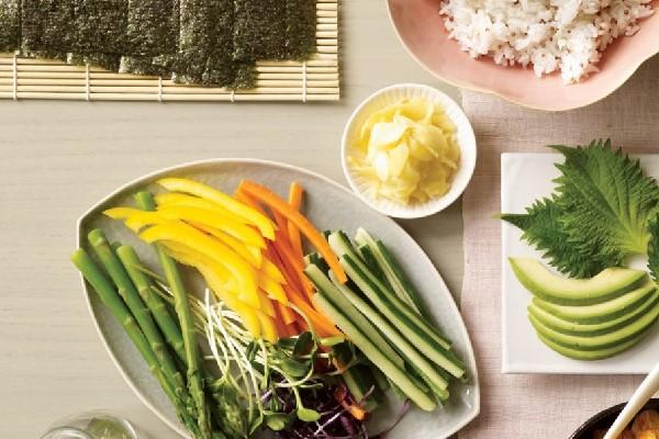 Nguyên liệu cho món sushi chay