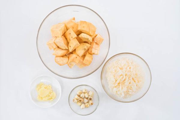 Nguyên liệu làm chè khoai lang nấm
