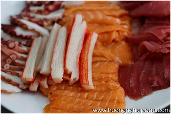 nguyên liệu làm món sashimi và maki