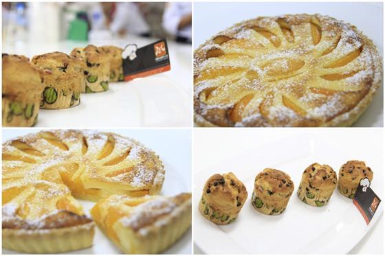 bánh peach tart và bánh banana chocolate muffin
