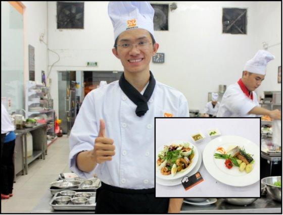 chef's salad cá hồi sốt kem chanh