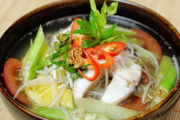 Thành phẩm canh chua cá lóc