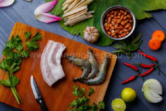 Nguyên liệu cần chuẩn bị làm gỏi ngó sen tôm thịt