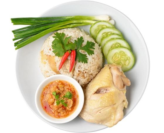 Cơm gà Hải Nam với cơm béo, mềm thấm vị
