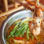 lẩu ếch nấu măng chua