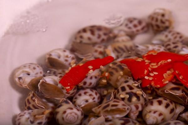 Ngâm ốc hương trong nước muối pha loãng
